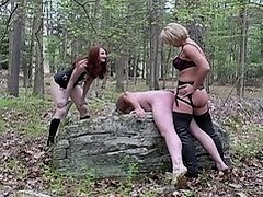 Strapon at the woods