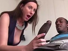 British Milf Lara sucking big black cock