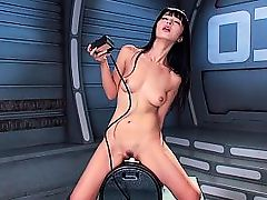 Lovely brunette maximum pleasure with sex machine
