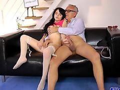 European teen riding oldmans cock on couch