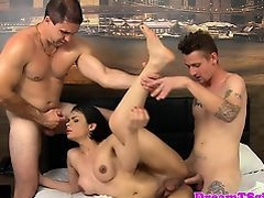 Busty tgirl assfucked by two cocks at once