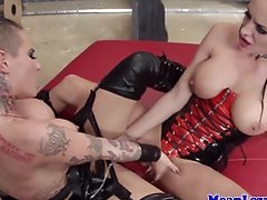 Busty gothic lesbians toy eachother closeup