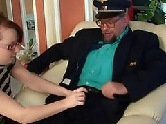 Grandpa fucking and pissing on young bitch
