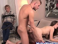Gorgeous cuckolding gf fucked in front of bf