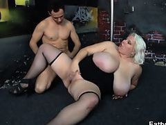 He bangs huge boobs blonde in stockings