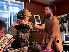 Sexy femdom fetish session whit sub man getting whip up arse