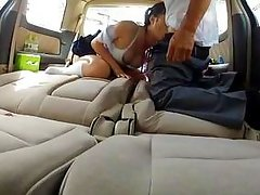 asian schoolgirl used in the car