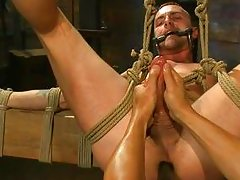 guy gets handjob and anal in bdsm action
