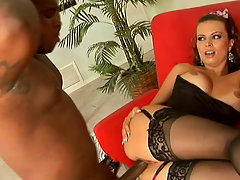 Passionate Bailey Brooks bounces on a hard black cock