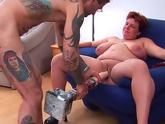 Fat babe Renate Zug being banged by dildo