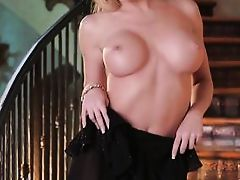 appealing blonde gal shows off and masturbates