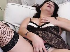 mature chubby woman licks her tit buttons