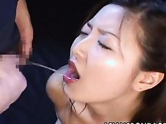 asian slut swallows make water
