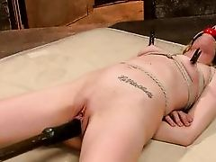 slim blonde tied and dildo fucked